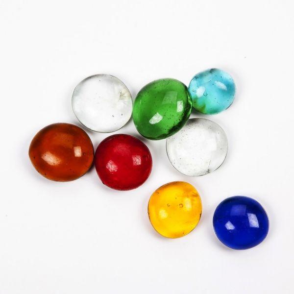 Glasnuggets transparent, 15-20 mm farbig sortiert, 1000 g