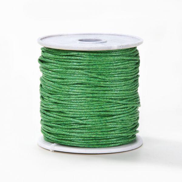 Baumwollkordel gewachst, 1,0 mm grün, 25m