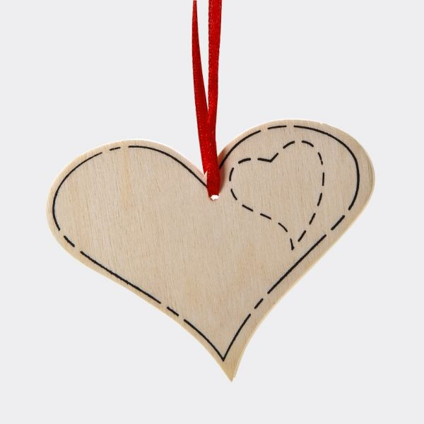 Holz Anhänger Herz, 6 Stück
