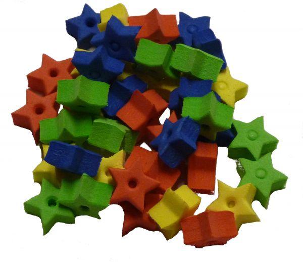 Moosgummi-Fädelteile Sterne, 15x8 mm, bunt je 10x gelb, rot, grün, blau = 40 Stück