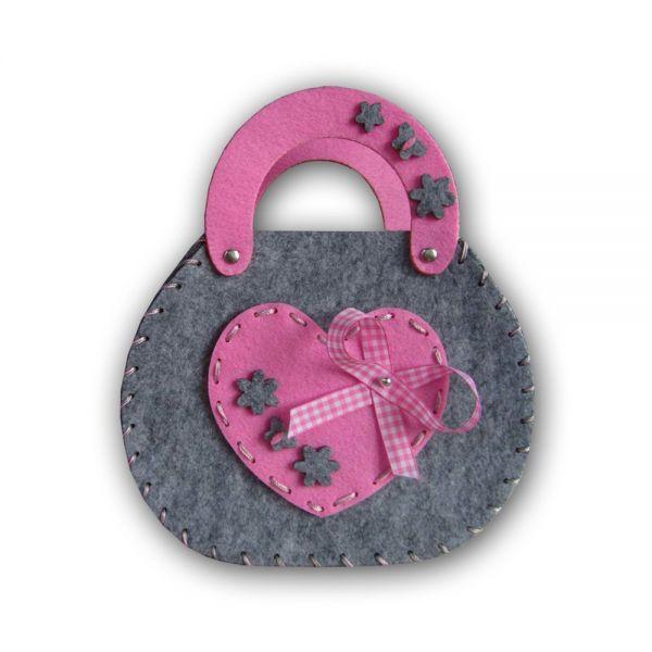 Creativbag Filz-Tasche Herz pink/grau, Größe: ca. 22x18x6cm