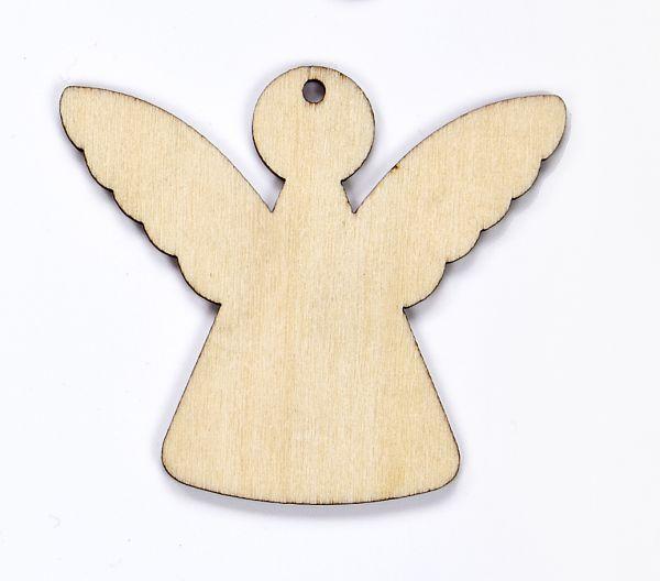 Holz Anhänger Engel, m. Loch und Kordel, 52 X 60 X 1mm, 10 Stück