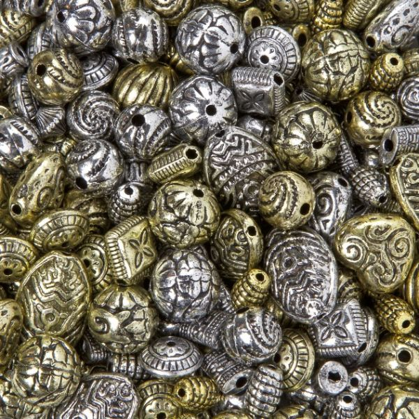 Antikperlen in verschiedene Formen und Größen, antiksilber/antikgold, 100 g