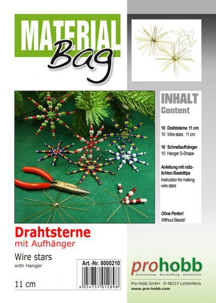 Material-Bag Drahtsterne, 11 cm, 10 Stück mit 10 Stück S-Aufhänger + Anleitung