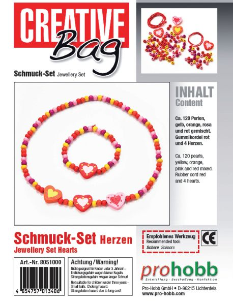 Creativbag Kinderschmuck Motiv Herz (1X Kette + 1X Armband)