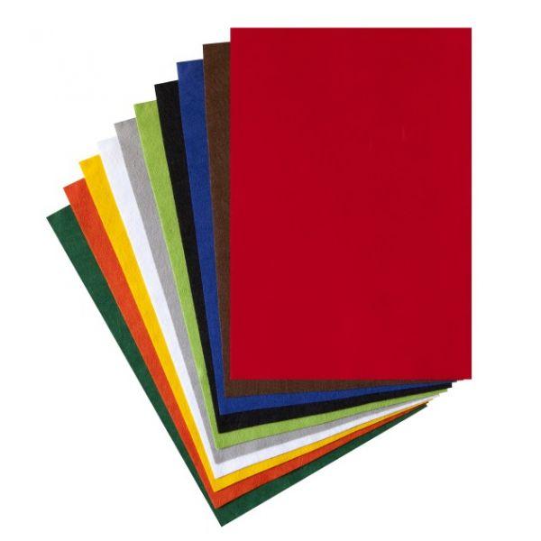 Bastelfilz 1,0 mm, 20x30 cm farbig sortiert, 10 Stück