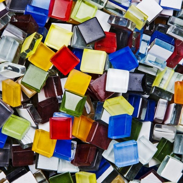 Mosaik Softglas, 10x10 mm, 1000 g, farbig sortiert