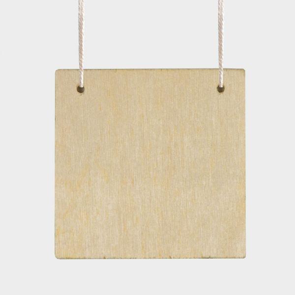 Holz Anhänger Quadrat, ca. 65x65x4 mm, 3 mm Loch