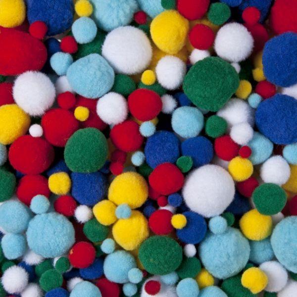Pompons, 400 Stück farbig sortiert 4-25mm