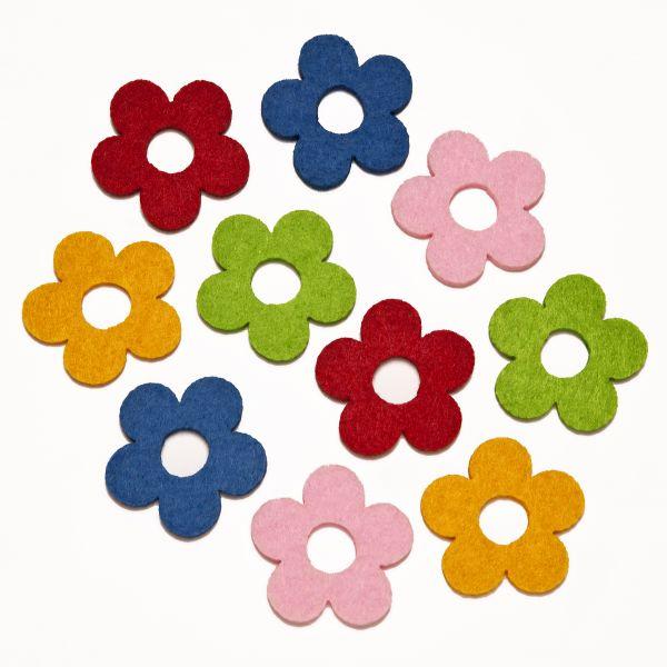 Filzstanzteile Blumen mit Loch ca.3,5cm, 200 Stück, rot,blau,grün,rosa,goldgelb