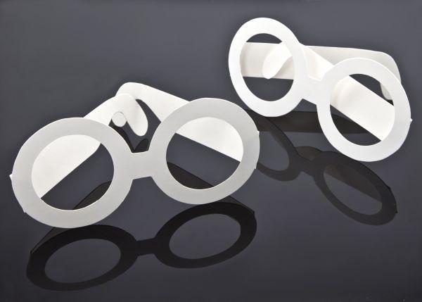 Papier Brillen, 157x75mm, weiß, 6 Stück