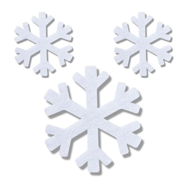 Filz Stanzteile Schneeflocken 3mm, weiss, 140 Stück (70 Stück 7cm + 70 Stück 4cm)