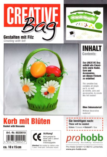 Creativbag Filz-Körbchen-Set Korb mit Blüten