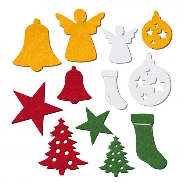Filzstanzteile Weihnachten 3,5+5cm, 200 Stück, Tanne, Stiefel, Glocke, Stern, Kugel