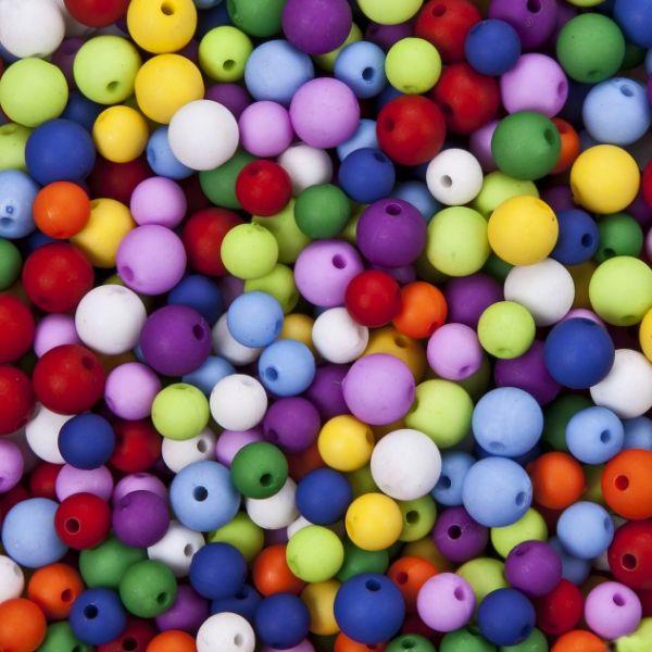 """Acrylperlen """"Ice"""" matt250g (125g 8mm + 125g 10mm)farbig sortiert"""