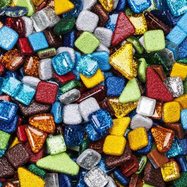 Mosaik Softglas glitter, poly, 500 g, farbig sortiert