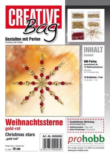 Creativbag Drahtsterne gold-rot für 10 Sterne 11cm