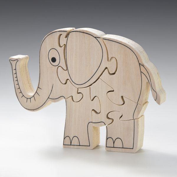 Holz Puzzle 15x12 cm, Elefant