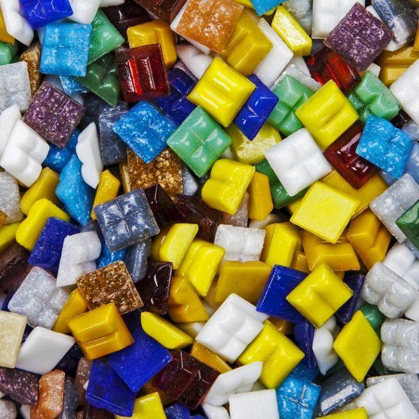 Mosaik Glas, 10x10 mm, 1000 g, farbig sortiert