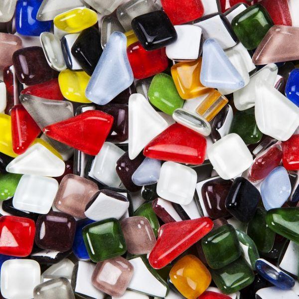 Mosaik Softglas, poly, 1000 g, farbig sortiert