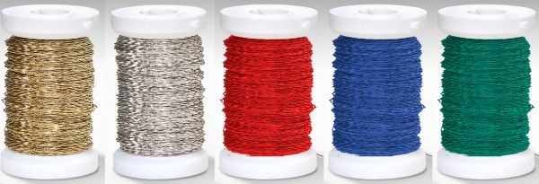Effektdraht Set (auf Eisenbasis), 0,30 mm, je 50m, rot, grün, blau, silber, gold