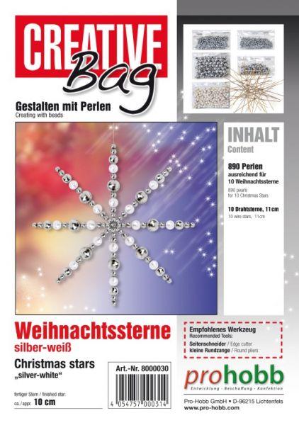Creativbag Drahtsterne silber-weiss für 10 Sterne 11cm