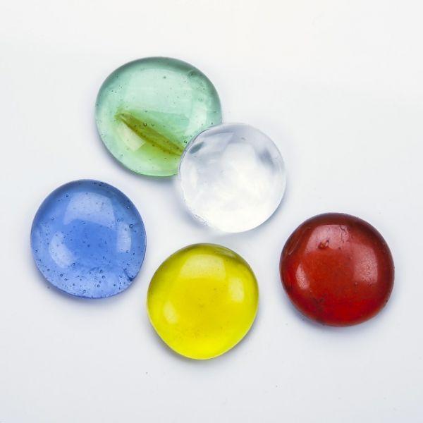 Glasnuggets transparent, 25-30 mm farbig sortiert, 500 g