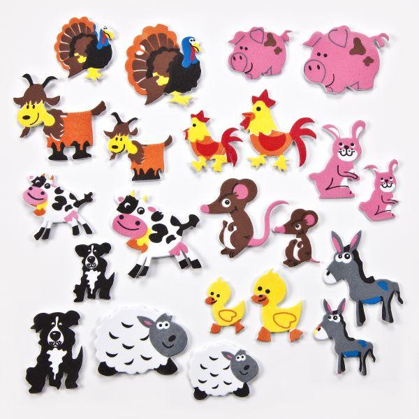 Moosgummi Sticker Tiere Bauernhof, 35-40mm, 60 Stück