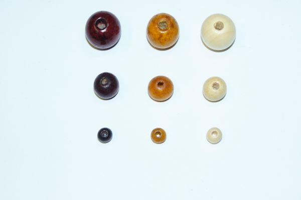 Holzperlen B-Qualität, 6/10/15mm, naturtöne, 100g