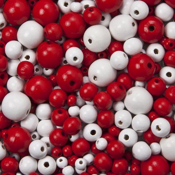 Holzperlen B-Qualität, 6/10/15mm, rot/weiß, 100g