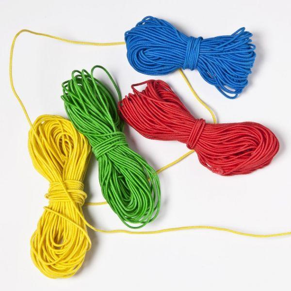 Stretchgummi, 1,0mm, Set, je 8 m in den Farben: gelb, rot, blau, grün