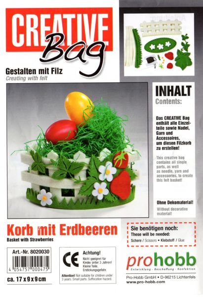 Creativbag Filz-Körbchen-Set Korb mit Erdbeeren