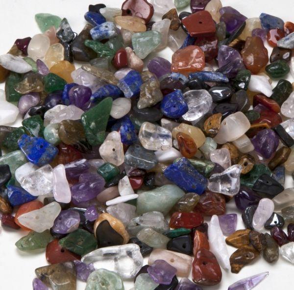 Edelsteine mit Bohrung, 5-10 mm, 250 g farbig sortiert